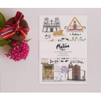 Três diferentes postais ilustrados